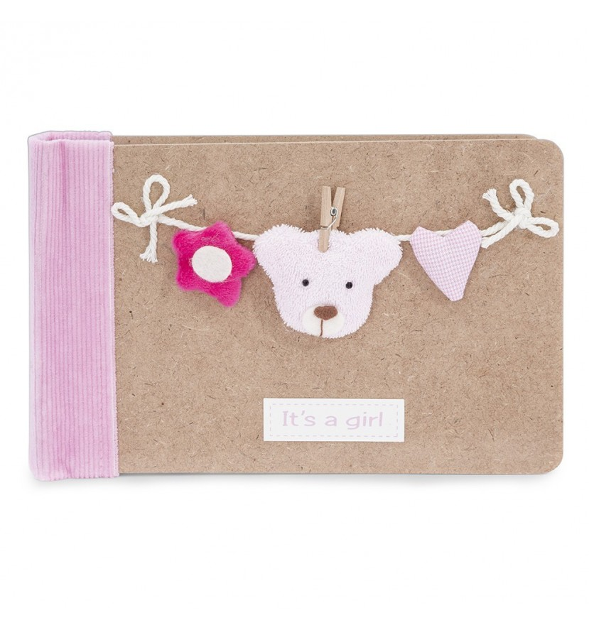 Baby Photo Album Pink Bear