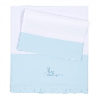 Blue Baby Linen Cot Set