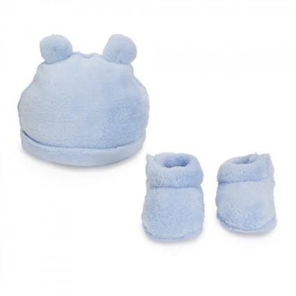 Pink Teddy Baby Hat-Booties Set