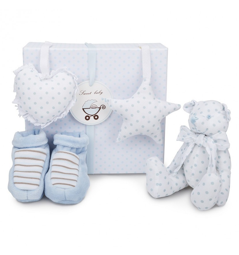 Blue Teddy Bear Baby Gift Set