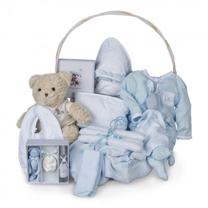 Vintage Deluxe Baby Gift Basket Blue