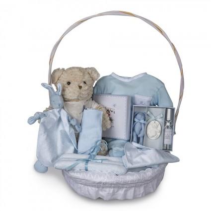 Vintage Complete Baby Gift Basket Blue