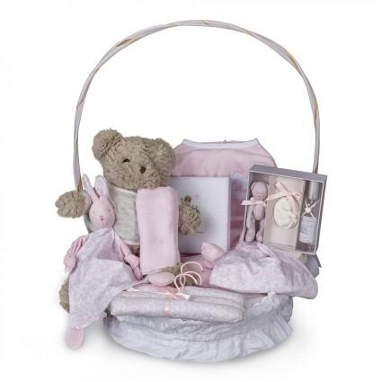 Vintage Complete Baby Gift Basket Pink