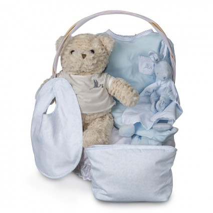 Vintage Essential Baby Gift Basket Blue